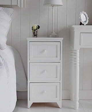 Narrow Bedside Tables white bedside tables and cabinet - the white  lighthouse